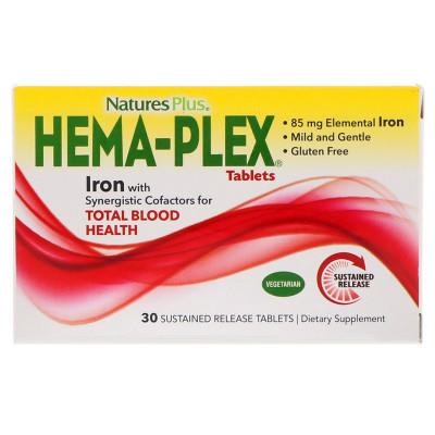 Хемаплекс Nature's Plus, Hema-Plex, 30 таблеток с длительным высвобождением