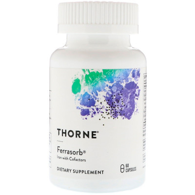 Thorne Research, Ferrasorb, железо с кофакторами, 60 капсул